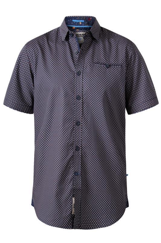 D555 Navy Micro Geometric Print Shirt
