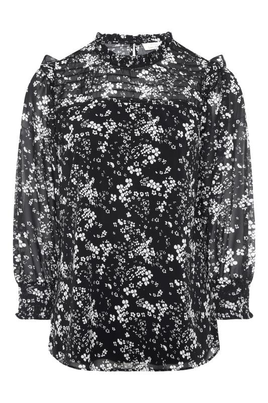 YOURS LONDON Black Floral Ruffle Blouse_F.jpg