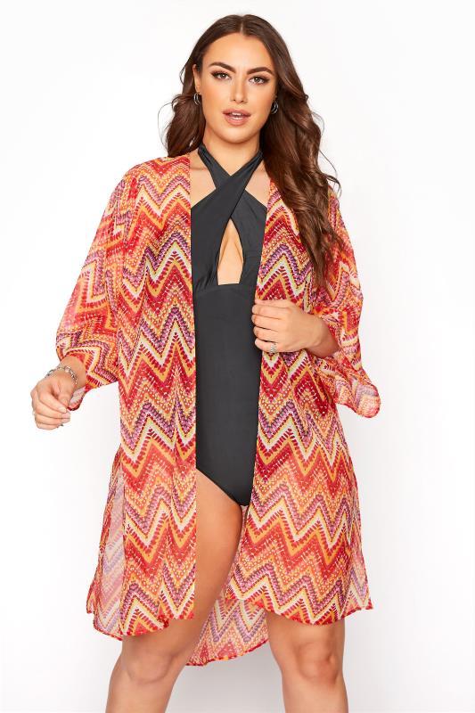 Plus Size  Orange Zig Zag Print Kimono Beach Cover Up