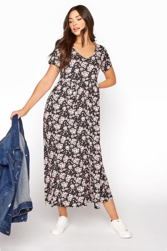 LTS Black Floral Print Jersey Midi Dress_B.jpg