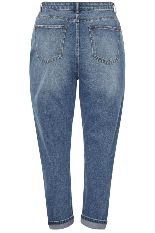 Blue Extreme Ripped Patch Mom Jeans