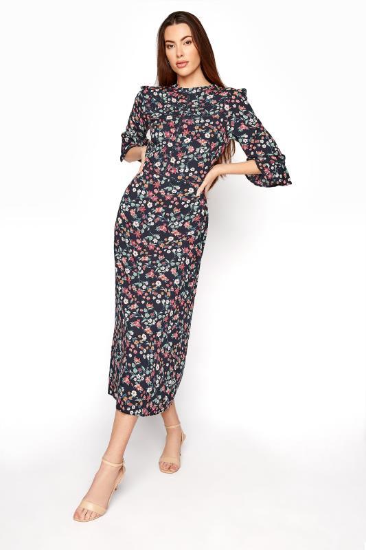 Tall  LTS Navy Floral High Neck Flute Sleeve Midi Dress
