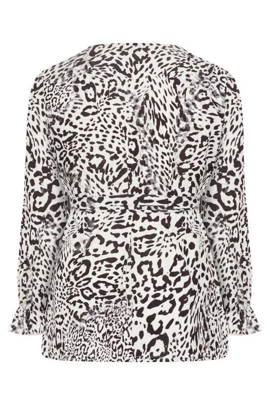 YOURS LONDON White Leopard Print Wrap Top_BK.jpg