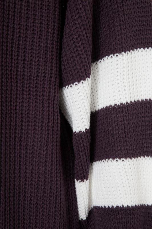 Purple Varsity Stripes Knitted Cardigan_S.jpg