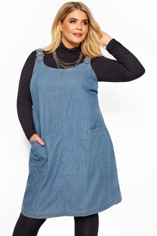 Plus Size Pinafore Dresses Blue Denim Ring Detail Pinafore Dress