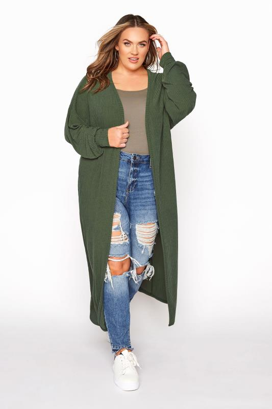 LIMITED COLLECTION Khaki Ribbed Long Cardigan_A.jpg
