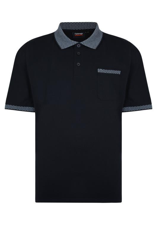 Plus Size  ESPIONAGE Navy Jacquard Collar Polo Shirt