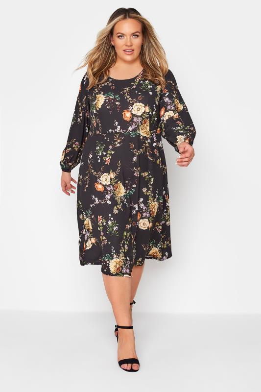 YOURS LONDON Black Blossom Midi Dress_A.jpg