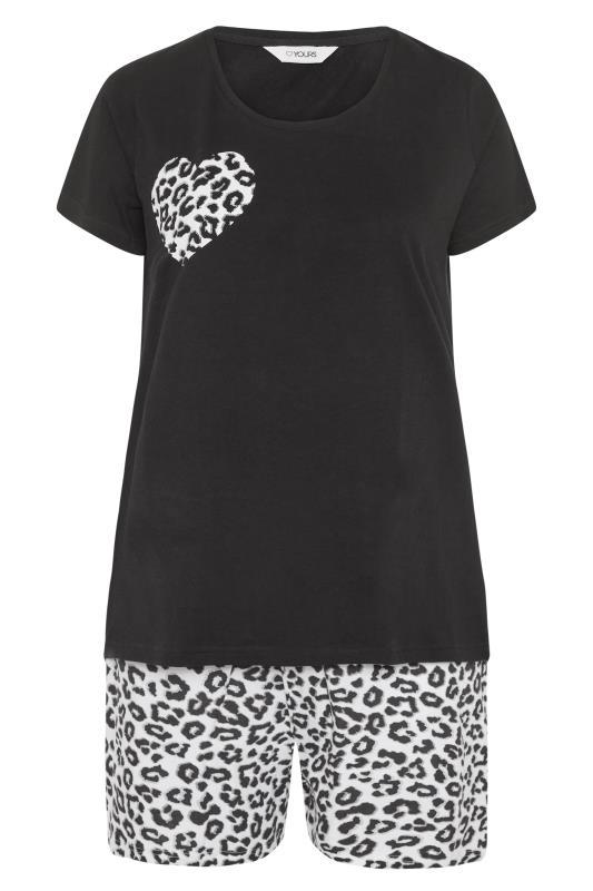 Black Leopard Print Heart Pyjama Shorts Set_F.jpg