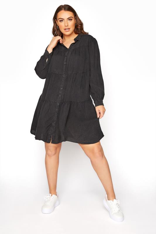 LIMITED COLLECTION Black Washed Denim Look Tiered Shirt Dress