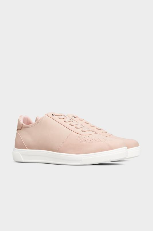 Pink Vegan Leather Lace Up Trainers In Extra Wide Fit