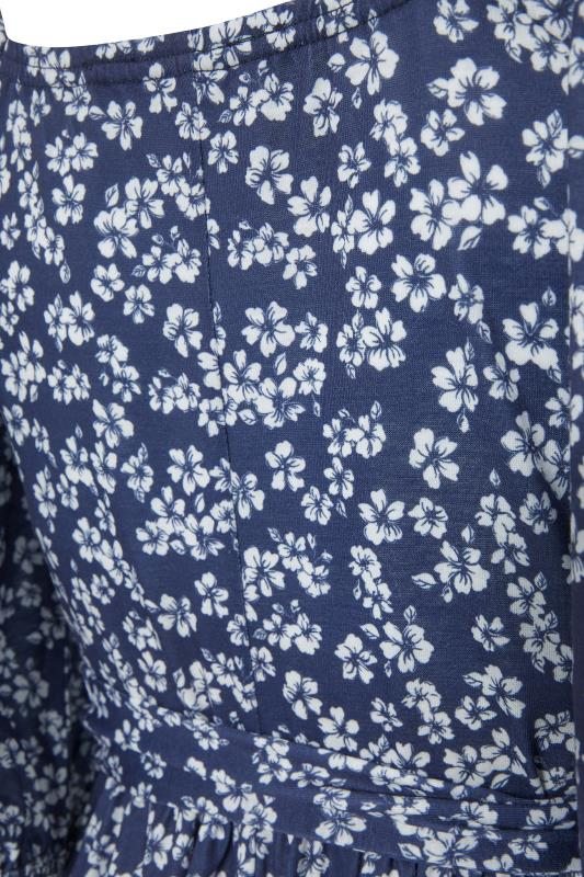 LTS Maternity Navy Blue Ditsy Square Neck Puff Sleeve Milkmaid Dress_S.jpg