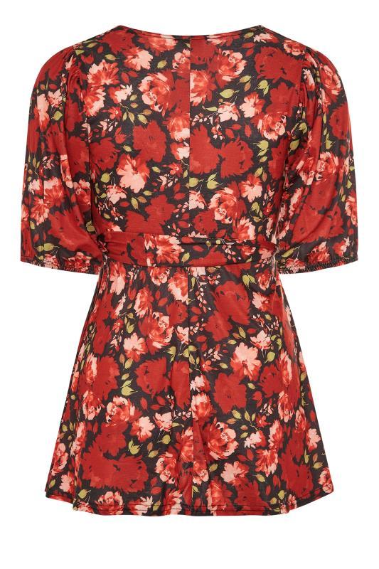 YOURS LONDON Black Floral Print Tie Waist Peplum Top_BK.jpg