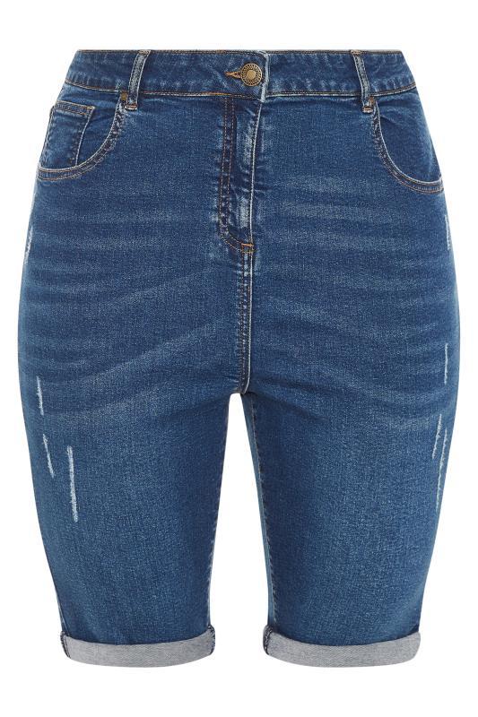 Mid Blue Cat Scratch Denim Shorts_f.jpg