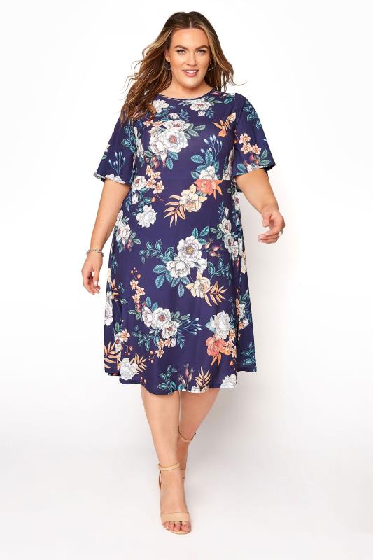 Plus Size  YOURS LONDON Navy Floral Oriental Dress