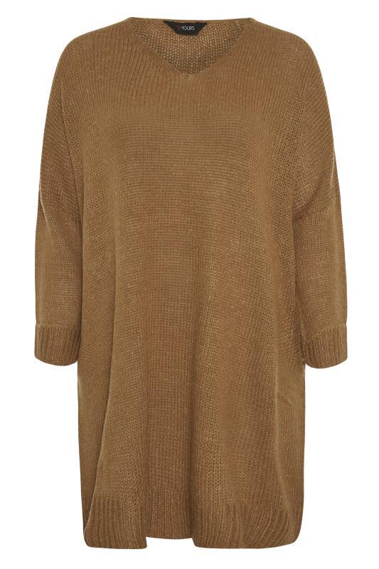 Camel Drop Sleeve Knitted Jumper Dress_F.jpg