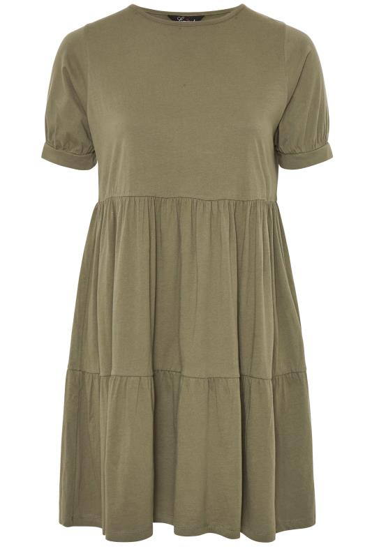 LIMITED COLLECTION Khaki Tiered Cotton Smock Dress
