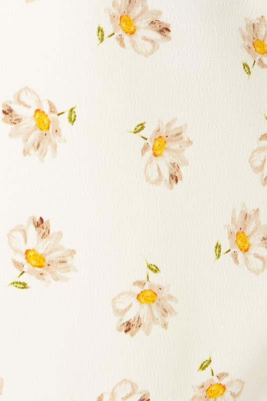 White Daisy Print Short Sleeve Dipped Hem Blouse_S.jpg