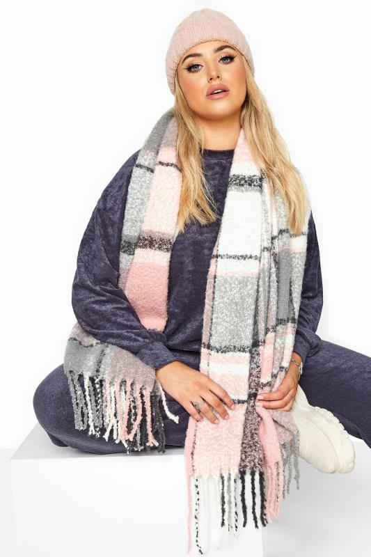 Pink & Grey Soft Boucle Check Scarf
