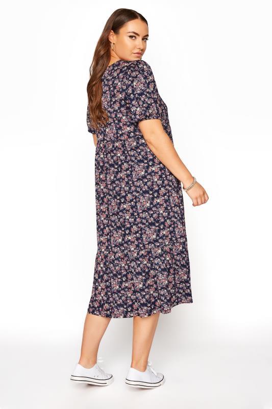 Navy Floral Puff Sleeve Midaxi Dress_C.jpg