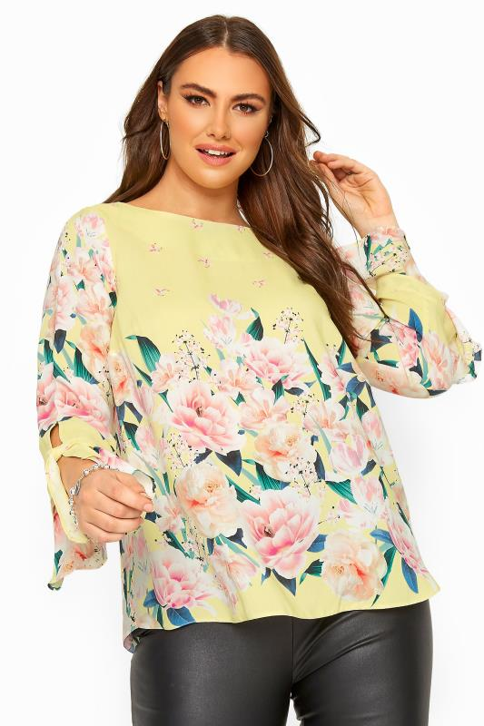 Plus Size Casual / Every Day Yellow Floral Print Flute Sleeve Blouse