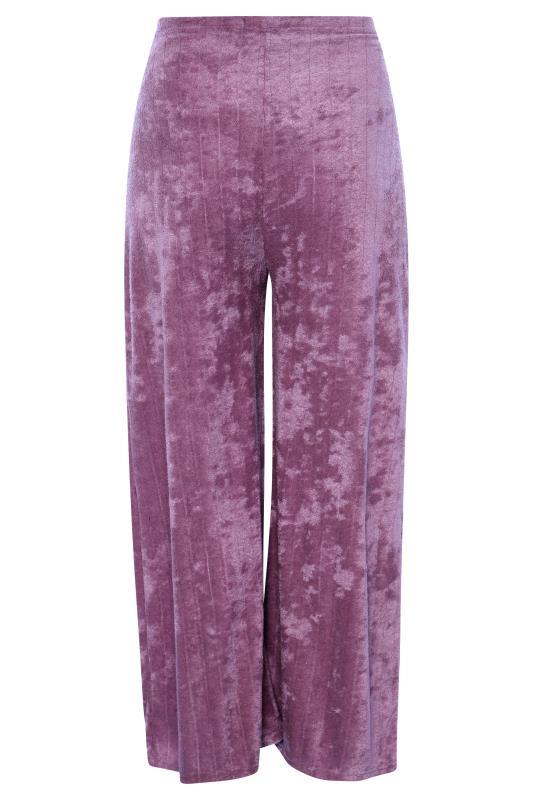 BUMP IT UP MATERNITY Purple Flannel Towelling Co-ord Wide Leg Trousers_BK.jpg