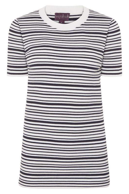 Navy & White Stripe Short Sleeve Knitted Top