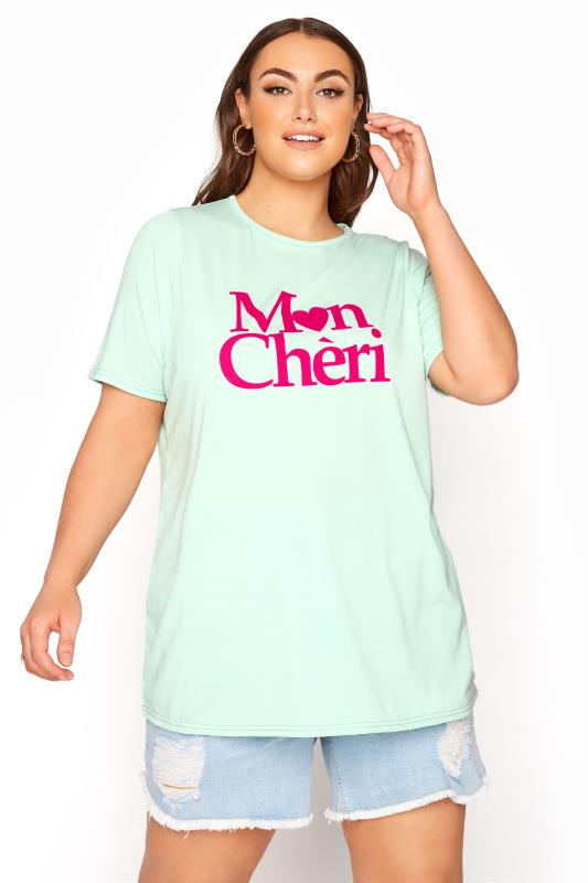Plus Size  LIMITED COLLECTION Mint Green 'Mon Cheri' T-shirt