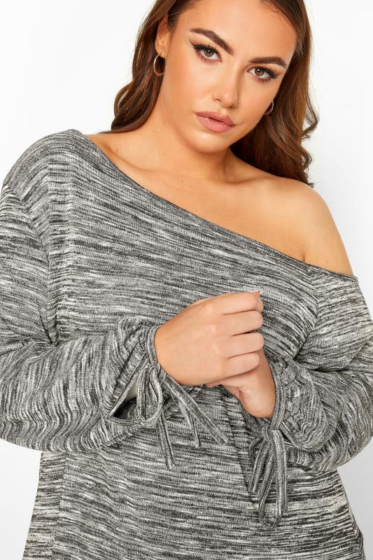 Grey Marl Off The Shoulder Tie Sleeve Knitted Top