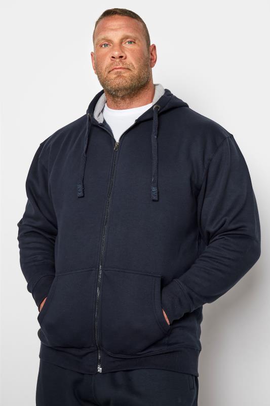 Men's Hoodies KAM Navy Zip Through Hoodie