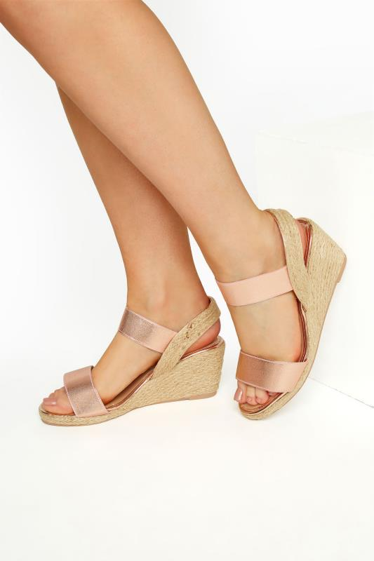 Plus Size  Rose Gold Espadrille Wedge Sandals In Wide Fit
