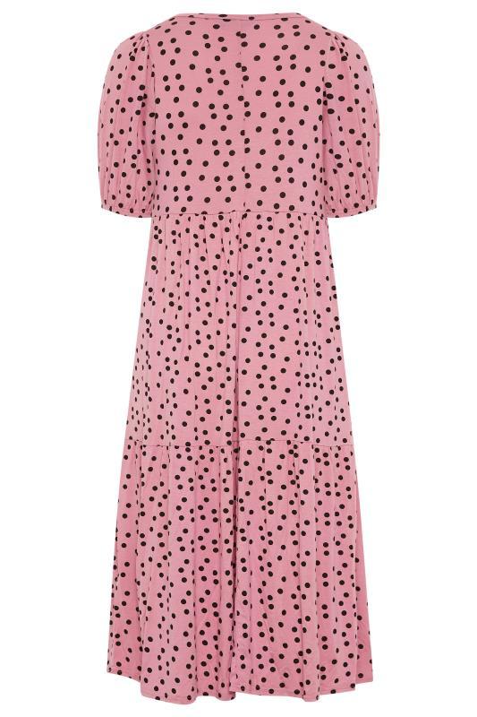 Pink Spot Print Puff Sleeve Midaxi Dress_BK.jpg