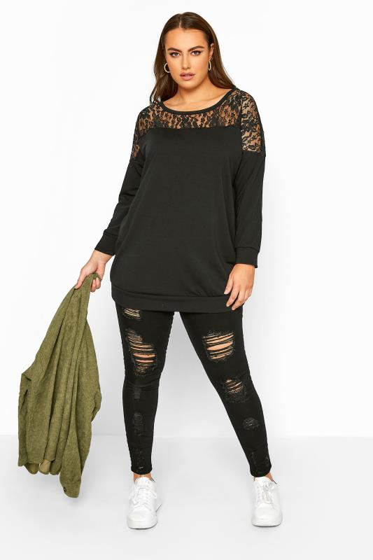 LIMITED COLLECTION Black Lace Insert Sweatshirt