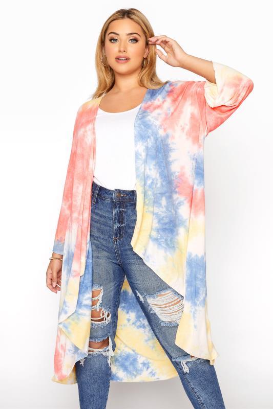 Plus Size  Multicoloured Tie Dye Kimono