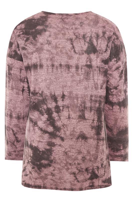 Pink Tie Dye Split Hem Knitted Top