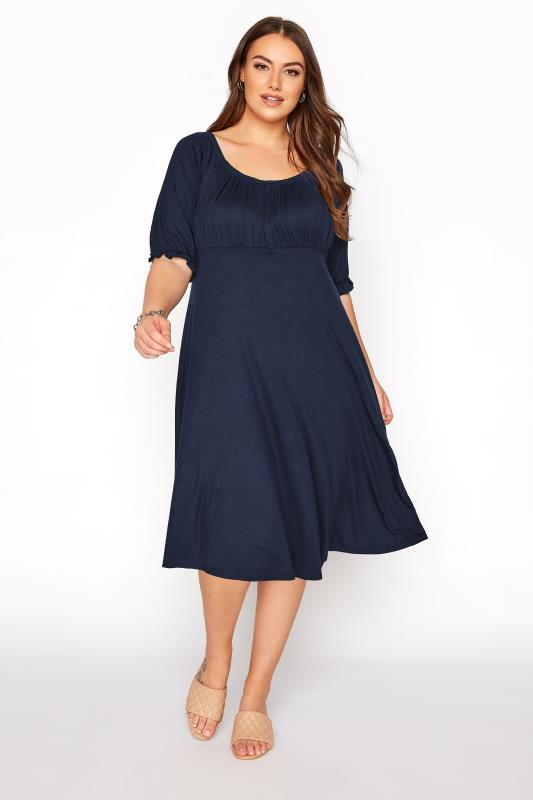 Grande Taille YOURS LONDON Navy Milkmaid Midi Dress