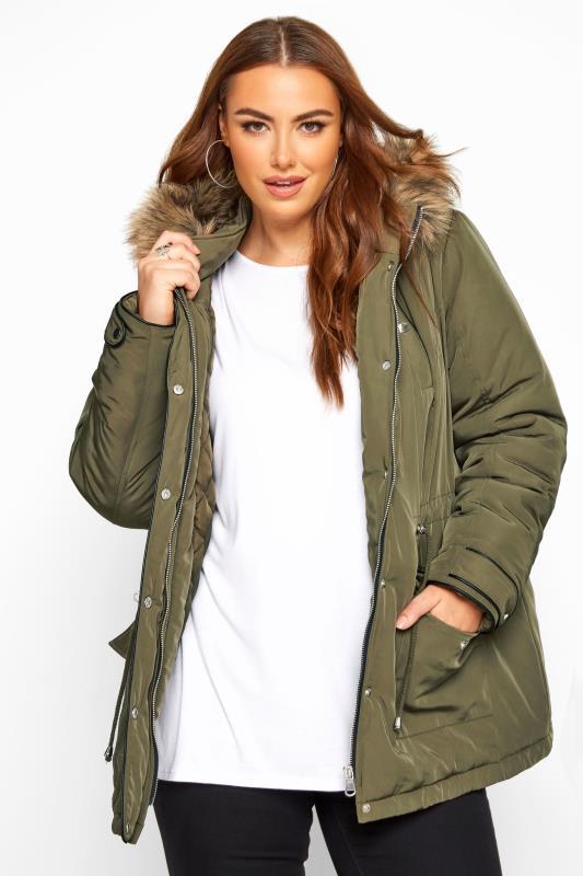 Plus Size Parka Coats Khaki Faux Fur Trim Short Parka Coat
