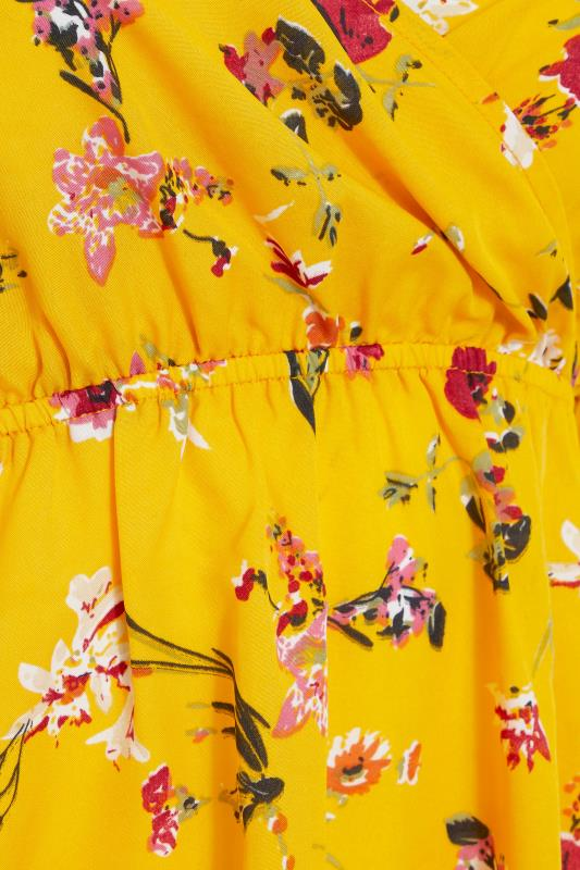 Yellow Floral Cold Shoulder Frill Top_s.jpg