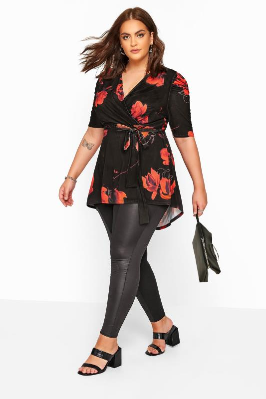 YOURS LONDON Black & Red Floral High Low Wrap Top