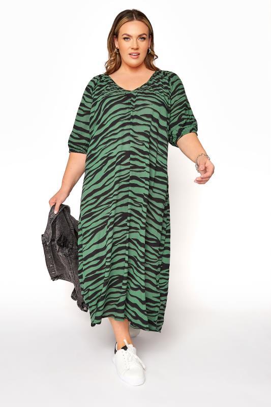 LIMITED COLLECTION Green Zebra Print Midaxi Dress_B.jpg