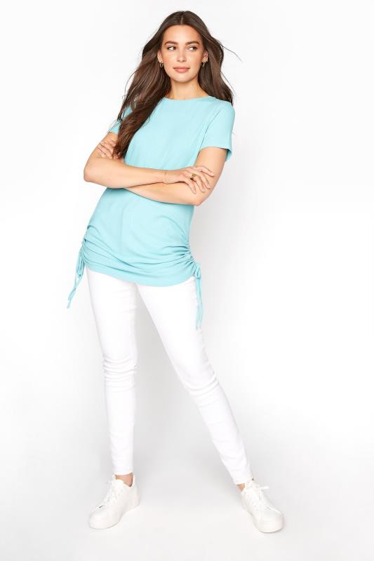 LTS Turquoise Blue Ribbed Ruched Side Tunic