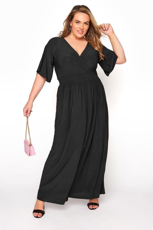 YOURS LONDON Black Wrap Midaxi Dress_B.jpg