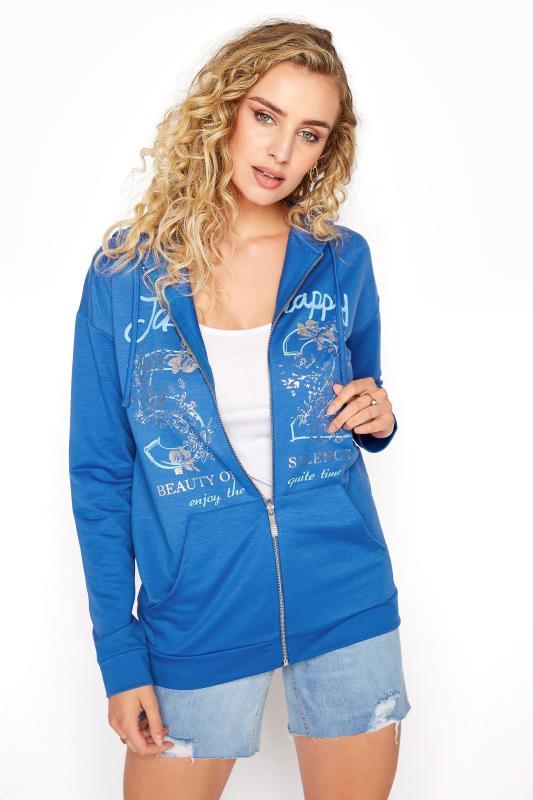 Tall  LTS Blue Printed Zipper Hoodie