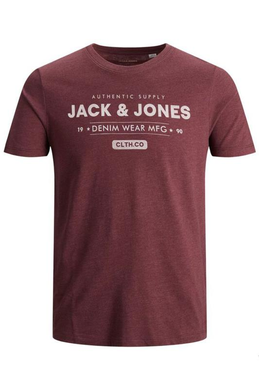 JACK & JONES Burgundy Marl Logo Printed T-Shirt