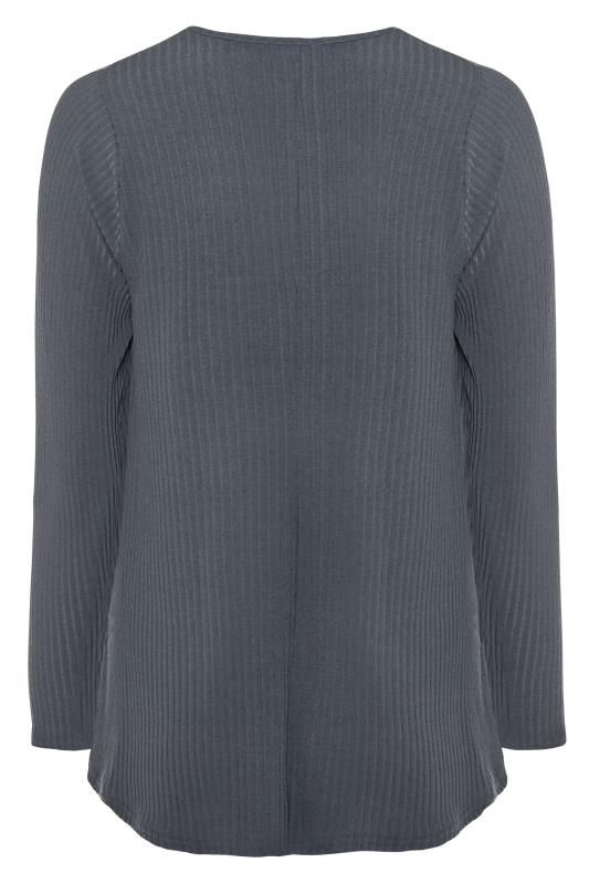 LIMITED COLLECTION Grey Ribbed Long Sleeve Top