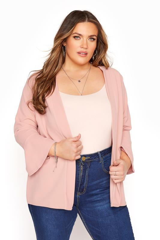 Plus Size  YOURS LONDON Pink Fluted Sleeve Jacket