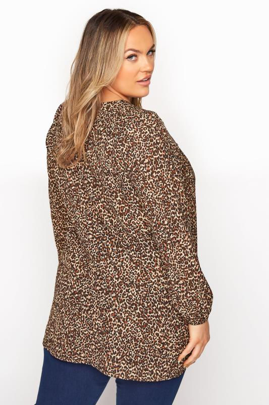 YOURS LONDON Brown Leopard Print Blouse_C.jpg