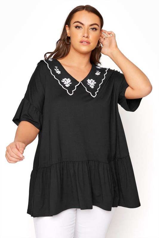 Plus Size  LIMITED COLLECTION Black Embroidered Collar Swing Top