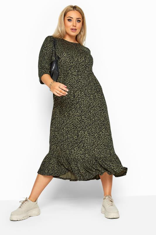 Plus Size Sleeved Dresses LIMITED COLLECTION Khaki Leopard Print Midi Smock Dress
