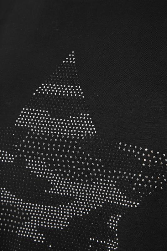 Black Stud Embellished Dipped Hem T-Shirt_S.jpg